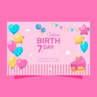 Feliz aniversário com balões em forma de coloridos