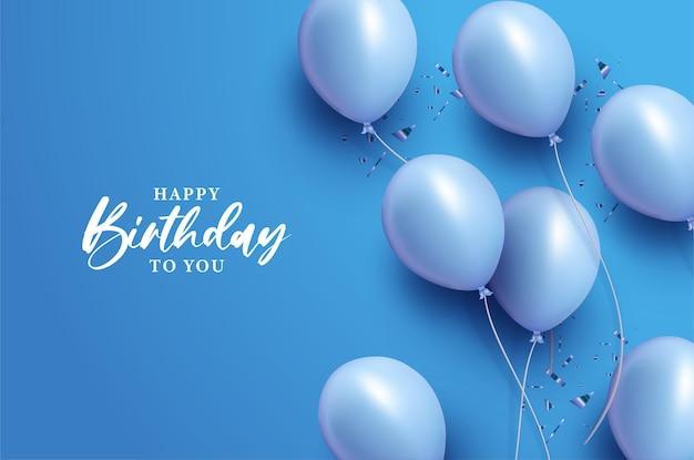 Feliz aniversário com balões em fundo azul