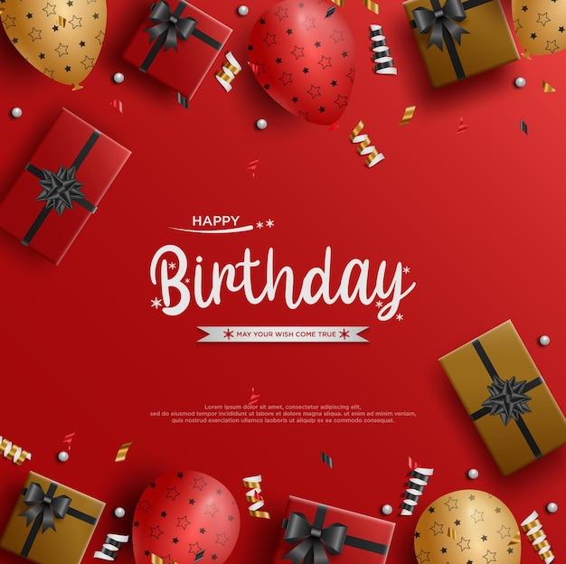 Feliz aniversário com balões espalhados e caixas de presente