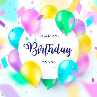 Feliz aniversário com balões realistas e coloridos