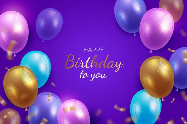 Feliz aniversário com balões realistas