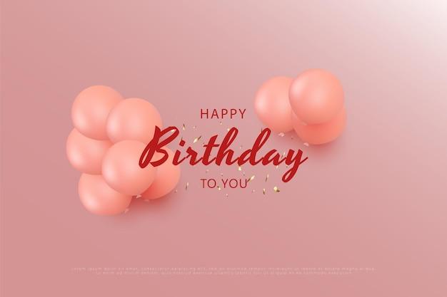 Feliz aniversário com balões rosa e com glitter dourado