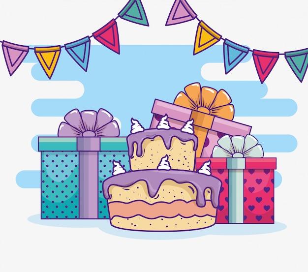 Feliz aniversário com banner de bolo e festa