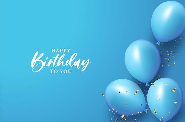 Feliz aniversário com branco sobre fundo azul