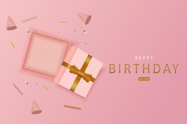 Feliz aniversário com caixa de presente aberta vazia