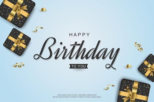 Feliz aniversário com caixa de presente realista e fita