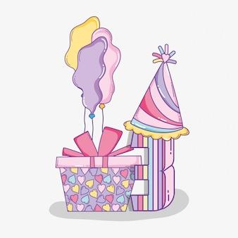 Feliz aniversário com chapéu de festa e presente