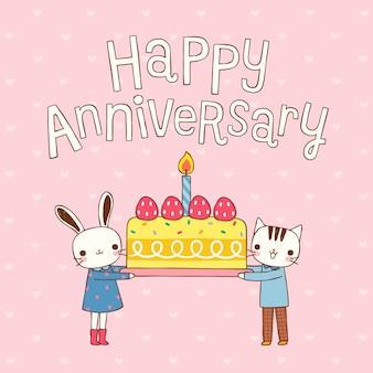 Feliz aniversário com coelho de casal bonito dos desenhos animados e gato