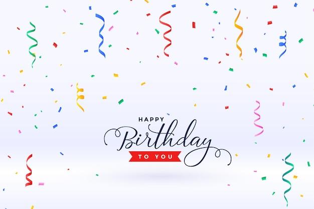 Feliz aniversário com confete caindo
