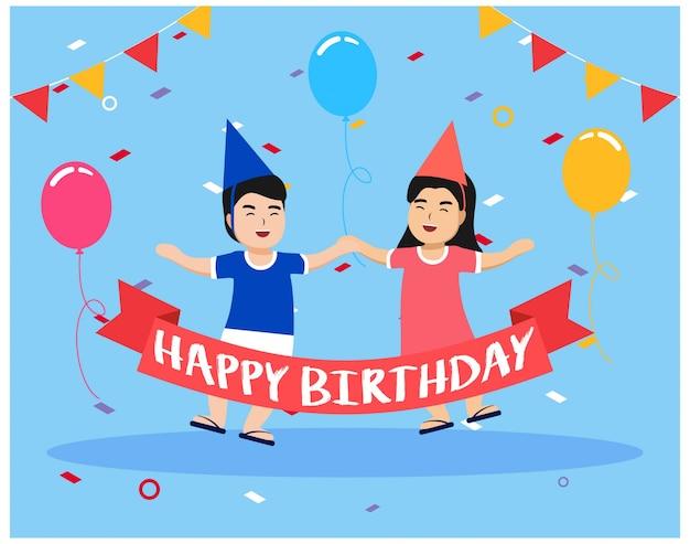 Feliz aniversario com crianças