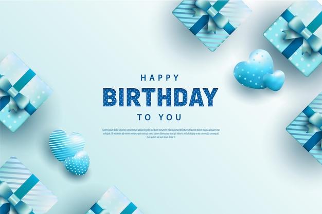 Feliz aniversário com decoração de caixa de presente e balões em forma de coração