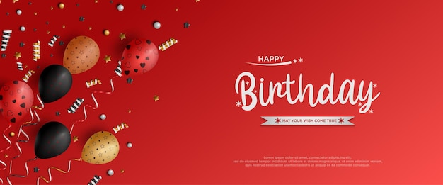 Feliz aniversário com decoração de material de festa de fundo vermelho