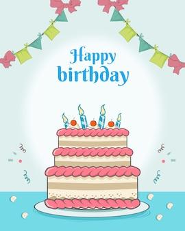 Feliz aniversário com decoração grande torta e bandeira