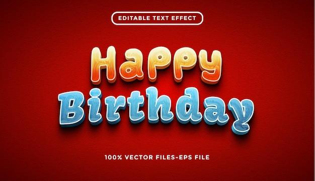Feliz aniversário com efeitos de texto editáveis e vetores premium