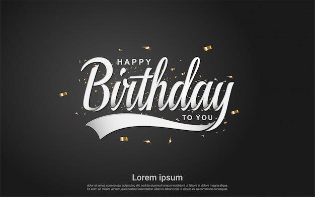 Feliz aniversário com fita de ouro sobre fundo preto