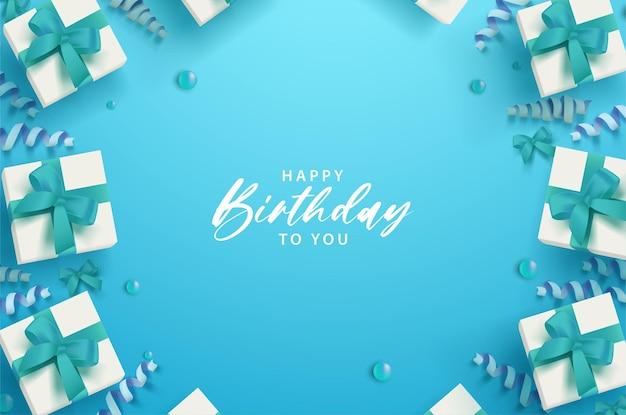 Feliz aniversário com fita sobre fundo azul