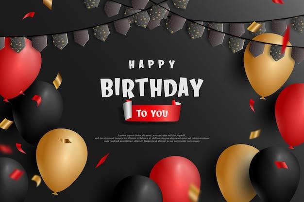 Feliz aniversário com ilustração de balão e bandeira em fundo preto