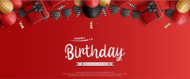Feliz aniversário com ilustração de balão e bandeira em fundo vermelho