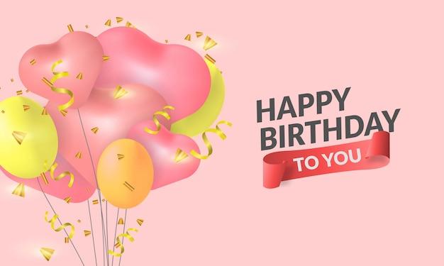 Feliz aniversário com ilustração de balão