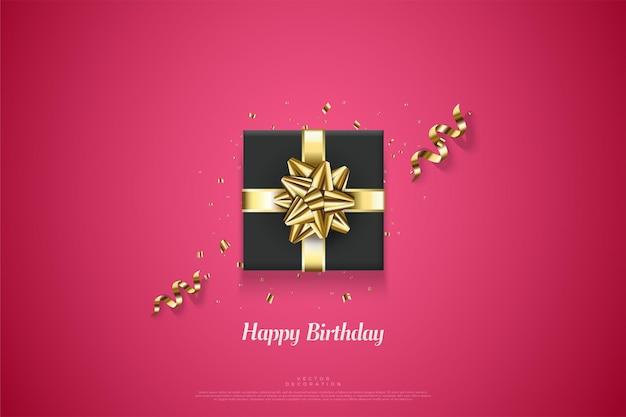Feliz aniversário com ilustração de caixa de presente preta.