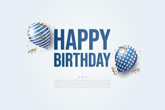 Feliz aniversário com ilustração de dois balões ao redor da escrita.