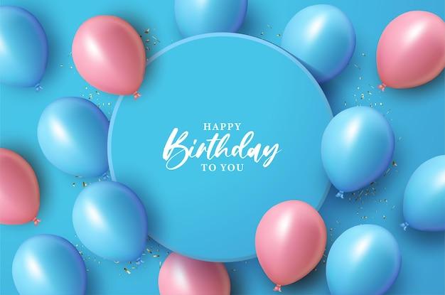 Feliz aniversário com ilustração sobre o círculo azul