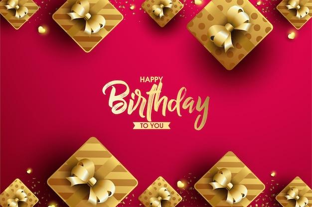 Feliz aniversário com letras douradas brilhantes e caixa de presente com fita