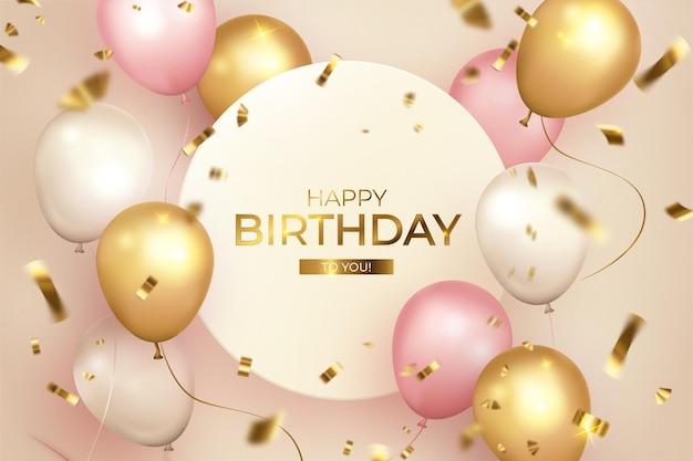 Feliz aniversário com moldura e balões