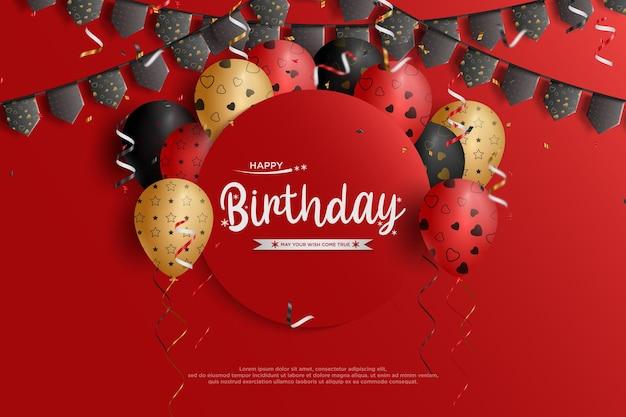 Feliz aniversário com placa circular com balões e bandeira