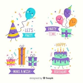 Feliz aniversário com presentes e balões