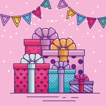 Feliz aniversário com presentes e decoração de banner de festa