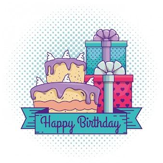 Feliz aniversário com presentes presentes e bolo