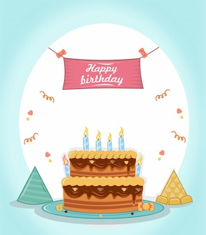Feliz aniversário com torta, chapéu e cartaz