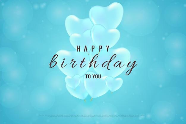 Feliz aniversário com uma pilha de balões no meio