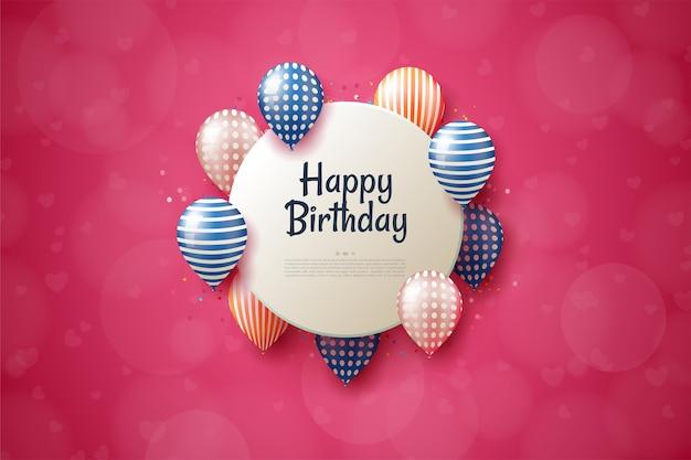 Feliz aniversário com uma placa de círculo com balões coloridos.
