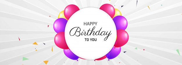 Feliz aniversário comemoração banner design