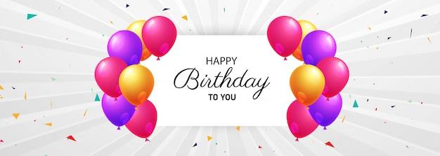 Feliz aniversário comemoração cartão criativo banner fundo