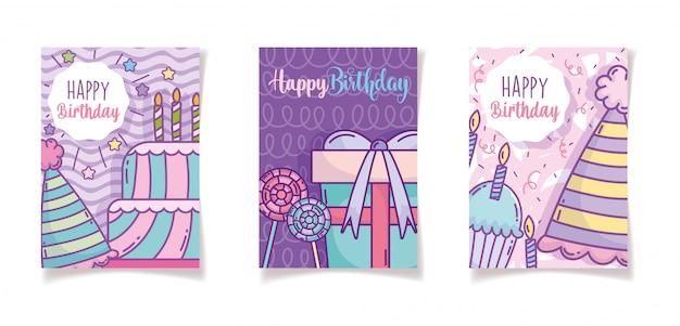 Feliz aniversário comemoração festa convite cartões decoração
