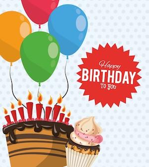 Feliz aniversário comemoração festa doce bolo cupcake balões adesivo