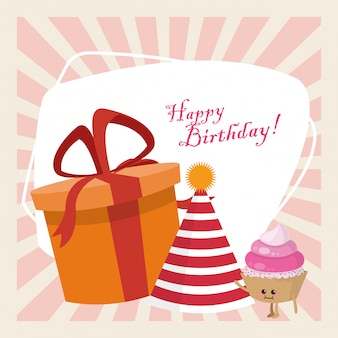 Feliz aniversário comemoração festa presente caixa chapéu e kawaii cupcake