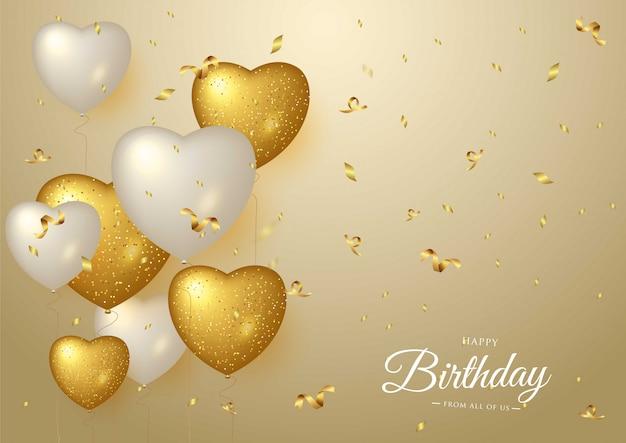 Feliz aniversário comemoração fundo dourado