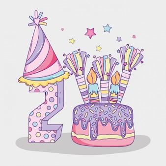 Feliz aniversário comemorar dois anos com bolo