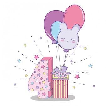 Feliz aniversário comemorar quatro anos