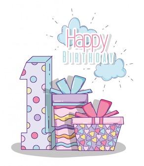 Feliz aniversário comemorar um ano com presentes