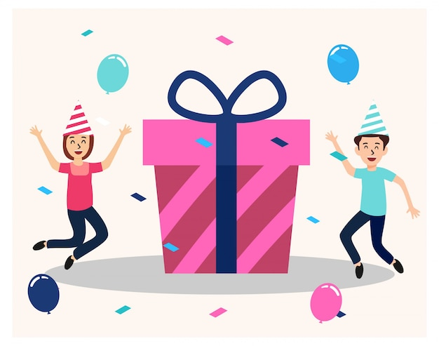 Feliz aniversário, comemore com uma grande caixa de presente