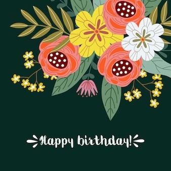 Feliz aniversário, conceito de design floral mão desenhar, buquê de flores com texto, vetor