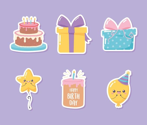 Feliz aniversário, conjunto de adesivo de bolo, presente, balão, celebração, festa, desenho, ilustração