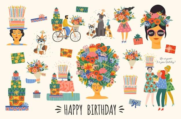 Feliz aniversário. conjunto de vetores de lindas ilustrações. composições brilhantes para cartão, pôster, folheto, banner e outros usos