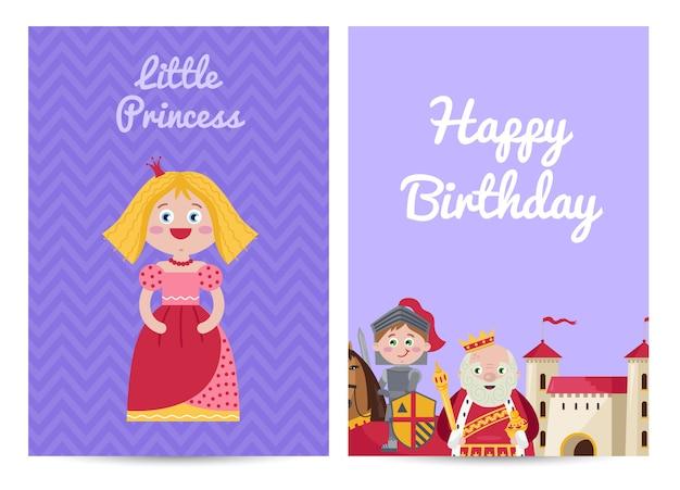 Feliz aniversário crianças cartão postal com princesa