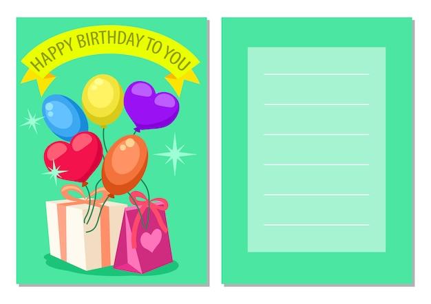 Feliz aniversário crianças cartão postal conjunto